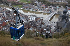 Dinant (Elios.k) Tags: camera city travel color colour travelling tourism church glass horizontal canon river outdoors photography view belgium citadel hill cable nopeople notredame cablecar april height dinant steep collegiate meuse namur birdeye 2015 collegiatechurch wallonia 5dmkii citadellededinant collgialenotredamededinant