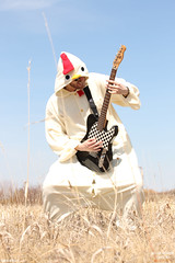 CHICKEN METAL (Half Light Photography) Tags: blue sky chicken beautiful field grass rock metal winnipeg cosplay guitar bluesky suit rocking samus niceweather chickendance chickensuit winnipegcosplay 66samus