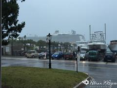 View of the ship through the rain