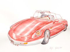 alfa spider (katie.charcoal) Tags: auto car zeichnung sketch fineliner ink aquarell watercolor 2016
