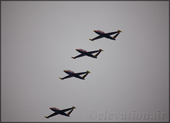 The Patrouille Tranchant Fouga Magisters (elevationair ) Tags: fouga fougacm170rmagister patrouilletranchant displayteam display airshow casement casementaerodrome baldonnell arrival landing formation formationflight brayairshow coudy overcast eime bal aerodrome military