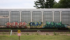 Kerse/Deploy (quiet-silence) Tags: graffiti graff freight fr8 train railroad railcar art kerse deploy amfm autorack pw pw104288