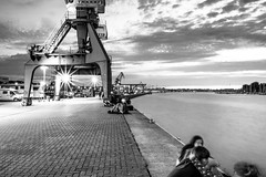Hafenzeit Rostock b/w (Svanny1982) Tags: bw schwarzweis hafen germany rostock wasser nacht