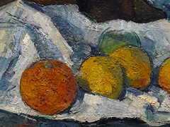 CEZANNE,1877-79 - Le Buffet - Still Life, The Buffet (Budapest) - Detail -g (L'art au prsent) Tags: art painter details dtail dtails detalles painting paintings peinture peintures 19th 19e peinture19e 19thcenturypaintings 19thcentury detailsofpainting detailsofpaintings tableaux paulczanne paulcezanne cezanne czanne stilllife naturemorte budapest hongrie hungary citrons citron lemon lemons orange oranges nappe nappeblanche whitecloth chiffon cloth bleu blue tasse cup sucrier sugarbowl buffet knife fruit food pomme apple apples glass verre dessert biscuits