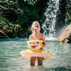Fun in the river (PascallacsaP) Tags: espaa spain alquzar aragn riovero girl water river joy fun waterfall float laughing laughter