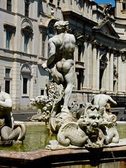 Bernini's Moor - Fontana del Moro - Piazza Navona - Rome - July 2016 d1 (litlesam1) Tags: italy rome soloromejuly2016 july2016 fountains
