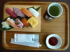 Sushi! (seikinsou) Tags: japan spring haneda airport tokyo sushi lunch greentea soyasauce tray
