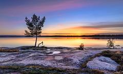 Tiny New Moon (Peter Vestin) Tags: nikond7000 tokinaatxpro122840dx siruin3204x siruik30x adobecreativecloudphotography topazlabscompletecollection skutberget karlstad vrmland sweden vnern nature landscape seascape sunset