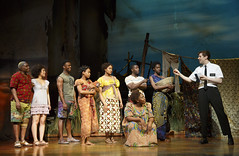 """Company of the Broadway Sacramento presentation of """"The Book of Mormon"""" at the Sacramento Community Center Theater March 9 – 20, 2016. Photo by Joan Marcus."""