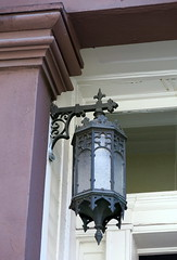 An iron lantern, Charles Street, Greenwich Village, New York City (Hunky Punk) Tags: city nyc houses usa ny newyork streets architecture buildings iron manhattan cities charles lanterns lamps neighborhoods doorways greenwichvillage hunkypunk spencermeans