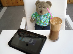 Doin' the social media thing (pefkosmad) Tags: bear vacation ted cute coffee caf toy vacances stuffed holidays soft teddy fluffy plush facebook frapp tedricstudmuffin pandicapo