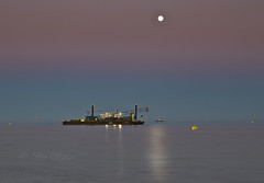 Off shore work , all at sea (Through Bri`s Lens) Tags: sussex worthing rampion windfarm rampionwindfarm stemat63 moonrise brianspicer canon5dmk3 canon24105f4l