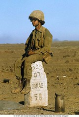 10-1973   Yorn Kippur War (Israel-Arab) photo by Christian Simonpietri (26) (ngao5) Tags: people male men sign soldier one asia adult military fulllength middleeast syria trafficsign israeli milestone oneperson armedforces midadult midadultman israeliarmedforces militarypersonnel distancemarker southwestasia caucasianethnicity middleeasternethnicity middleeasternculture