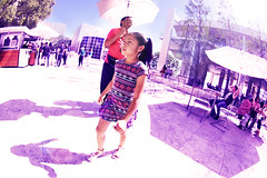 Purple Rain (kirstiecat) Tags: strangers kid daughter father family getty gettymuseum umbrella shadow rain shine la beautifulstrangers girl child losangeles california museum shadows fisheyelens lyrics purplerain prince