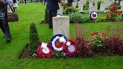 In memory at Thiepval (Richard Buckley) Tags: somme centenary picardy france battle war memorial poppies field corn scene view statue soldier basilica cross headstone grave greatwar worldwar1 caribou troops irish newfoundland australian shell artillery cemetery trench ceremony