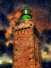 Lighthouse at Cap Frhel (sbox) Tags: sky lighthouse france tower buildings fire brittany digitalart dramatic bretagne textures digitalpainting brushes capfrhel