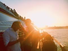 Strong light - weak drinks (beckybarnett303) Tags: outdoor outside boat water people light sunlight sunset bar fryingpan nyc newyork vsco vscocam flare lensflare