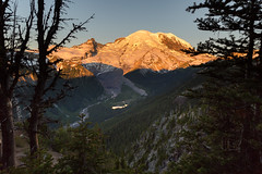 Sunrise on Tahoma (gabe.purpur) Tags: mountrainiernationalpark mountrainiernps nationalparks sunrise whiteriver glaciers forest snow