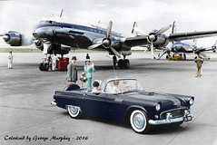 South Africa Connie and two more gorgeous birds. (gdmey) Tags: lockheed constellation colorized aircraft airplane airline