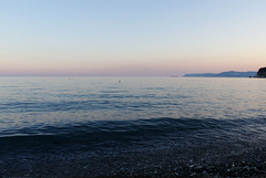 Sunset (Francesca Morgenco) Tags: blue light sunset sea sky italy beach evening tramonto mare liguria calm cielo spiaggia luce sera