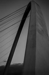 Newcastle/Gateshead (erringtonsimon) Tags: newcastle gateshead millenium bridge toon black white noir monolith large span structure art cables sky moody dull dark grey sony alpha mood nex 16mm