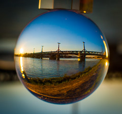 _MG_0393-2 (AdamFejes) Tags: glass globe glassglobe pointofview light sun summer blackandwhite bw colour city budapest danube sunset