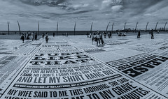 Comedy Carpet. (CWhatPhotos) Tags: blue sky skies skys clear day blackpool lancs lancashire north sand beach sun light silhouette silhouetted silhouettes photographs photograph pics pictures pic picture image images foto fotos photography artistic cwhatphotos that have which with contain olympus omd em10 mk ii esystem four thirds digital camera lens olympusem10mkii sanyang 75mm 35 f35 fisheye fish eye samyang manual focus wide view 43 fit mft micro promenade comedy carpet