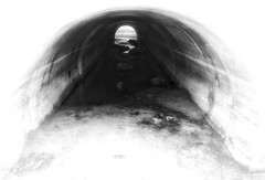Light at both ends (Ted Silveira) Tags: shadow iphoneography mobilephotography culvert tunnel california bw monochrome santacruz iphone5s blackandwhite