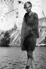 Savonlinna Opera Festival, Olavinlinna castle, Finland (Iurii & Natali) Tags: savonlinna opera festival summer olavinlinna castle saima finland suomi north nordic bw portrait vintage classic analogue view girl artistic nikon f80 ilford delta 135 50mm lora piano wool tommy hilfiger water