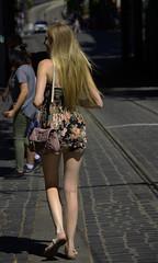 Street Walker (swong95765) Tags: female woman lady blonde hair cobblestone street walking
