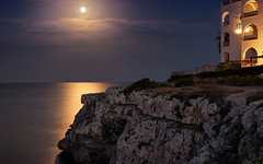 Full moon mood (Stefan Sellmer (up and away for holiday)) Tags: fullmoon landscape light mallorca night portocolom reflections spain coast longexposure outdoor seascape