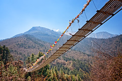 Suspension bridge along the Everest base camp hiking trail in the Khumbu (Everest) region of Nepal (CamelKW) Tags: 2016 everestpanoram nepal suspensionbridge everestbasecamp hiking trail khumbu everest region