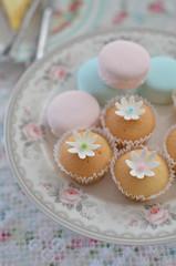 cupcakes (*tmk*) Tags: cupcake styling sweet decor dessert pink blue sugar tea table tabletop style light bokeh d5100 nikon nikkor fall flower
