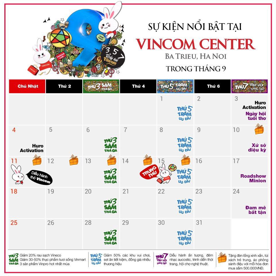 Tháng 9 này, có gì chờ bạn ở Vincom Center Bà Triệu?