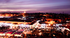 Marrakech (Aisabeth Thebasia) Tags: plaza travel sunset purple mosque morocco marrakech jemaaelfnaa