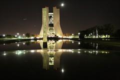 Wilson Hall, Fermi National Lab (Marianna Gabrielyan) Tags: canon reflections nightshot fermilab wilsonhall fnal xti canon1855mmf3556 400d ferminationallab