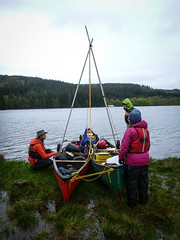 With a gentle breeze, time to try out a sailing rig. (JCJ62) Tags: scotland biscuit canoeing alison doreen greatglen canoetripping debroa