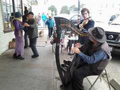 Busking, Waltzing & Dog Walking (Room With A View) Tags: people liz musicians sidewalk violin corwin mendocino harp mickie
