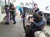 Busking, Waltzing & Dog Walking (Room With A View) Tags: people liz musicians sidewalk violin corwin mendocino harp mickie