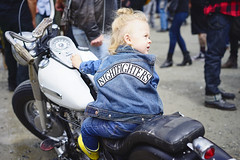 The littlest Nightfighter (Eric Flexyourhead (shoulder injury, slow)) Tags: canada cute girl bike vancouver zeiss kid downtown child bc britishcolumbia young motorbike american harleydavidson motorcycle biker rider shallowdepthoffield 2016 theshop waterfrontroad 55mmf18 sonyalphaa7 zeisssonnartfe55mmf18za spitnshine 2016spitnshinevintageandcustommotorcycleshowandshine