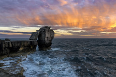 The Pulpit... (JH Images.co.uk) Tags: dorset pulpit rock sunset sky clouds landscape rocks jurassic coast waves water ocean seascape hdr dri red purple