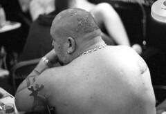 (auspices) Tags: 35mm black white ink iron birmingham tattoo convention pentax me super