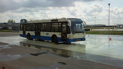 GVB Amsterdam DAF bus during a slippery training course at the test-track in Lelystad, the Netherlands (sirgunho) Tags: bus netherlands amsterdam training during course slippery lelystad testtrack gvb daf