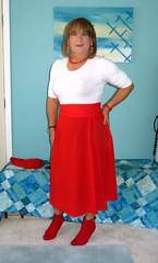 Red Skirt (Trixy Deans) Tags: cute sexy classic tv cd crossdressing tgirl transvestite corset transgendered crossdresser sexylegs transsexual trixy cocktaildress sexyblonde tgirls xdresser transvesite sexyheels sexytransvestite