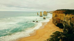 Whispers of the Wind. (The Keeper.) Tags: ocean blue light shadow sea sky color colour green texture colors yellow dark photography gold sand colours australia shade saturation process greatoceanroad twelveapostles shape edit