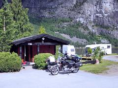 MCs outsite cottage. (topzdk) Tags: motorcycle mc norway honda bmw nature solvgardencottages brokke rysstad 2016 summer
