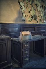 Bag on Desk (. Jon .) Tags: nikon d800 sigma35mm 35mmf14 manchester londonroadfirestation derelict