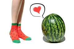 summer (of) love (brescia, italy) (bloodybee) Tags: 365project fruit vegetables food watermelon melon love heart socks feet ankle legs shin woman girl self bloodybee people humor fun white red green seeds comic bubble sweet