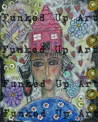 (artfunkedup) Tags: art artist canvas mixed media chicken bird cat lady girl home house whimsical outsider decoupage hearts flowers