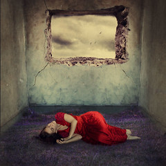 imagination freed (brookeshaden) Tags: sleeping selfportrait fairytale surrealism dreaming conceptual reddress whimsical fineartphotography holeinwall brookeshaden